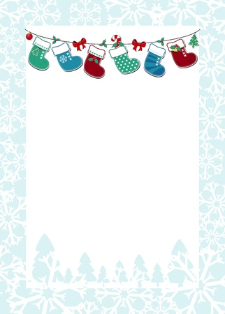 botas de navidad: Marco de la Navidad con los calcetines colgados y el fondo blanco para su mensaje Vectores