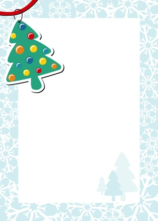 pinetree: christmas frame with pine tree and white background for your message