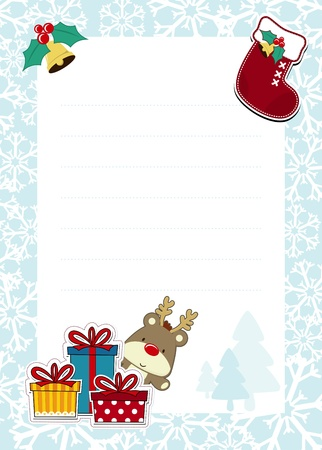 frame with childlike christmas ornaments on white background for your message, usable for dear santa template letter Stock Vector - 15952095