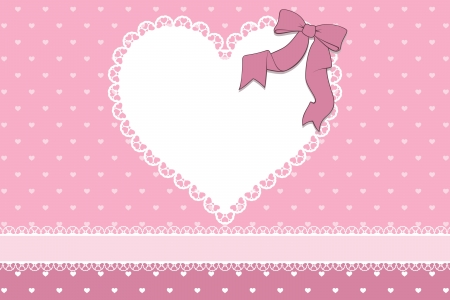 blank frame with hearts and ribbon on heart pattern background, ideal for scrapbooking projects or valentines card designs. Vector