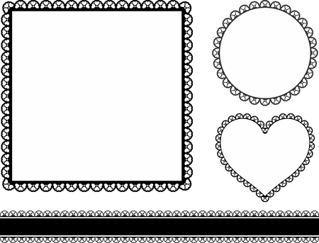 set of frames with hearts isolated on white background