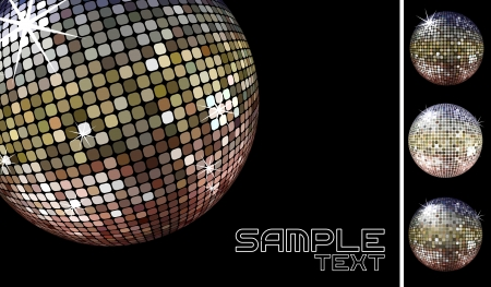 collection of dicoballs isolated on black background and retro party background sample whith disco ball Vector