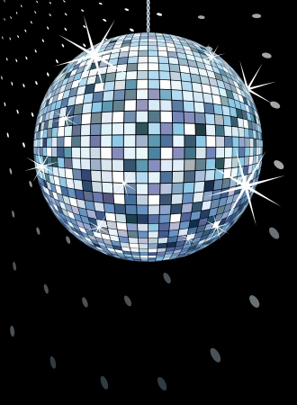 reflection in mirror: discoball on black, retro party background