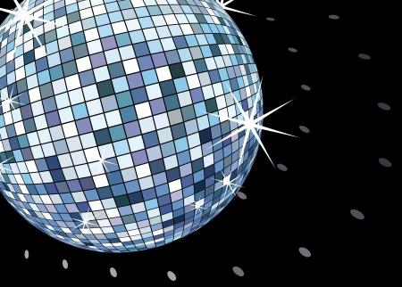 disco ball on black, retro party background  Ilustrace