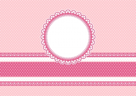 ribbons: cute scrapbooking background with circular frame on polka dots Illustration
