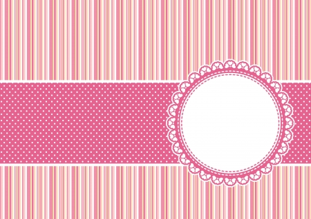 lace pattern: cute scrapbooking background with circular frame on polka dots Illustration