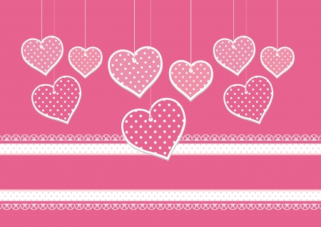 background for greeting card or scrap booking with hanging hearts  向量圖像