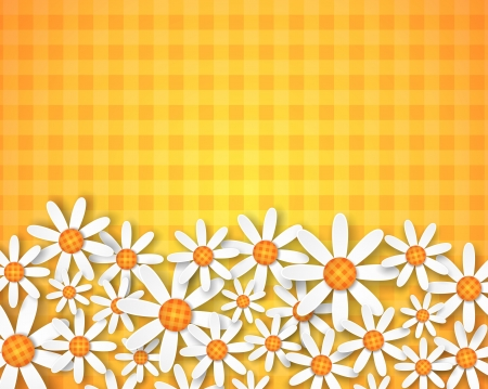 illustration of spring flowers on ginham background 版權商用圖片 - 18510426