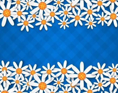 illustration of spring flowers on blue ginham background 版權商用圖片