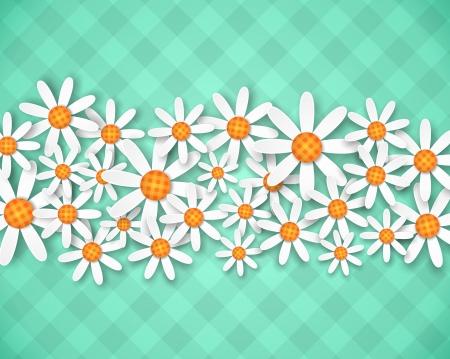 illustration of spring flowers on green ginham background