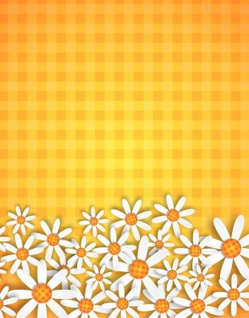illustration of spring flowers on ginham background Stock Illustration - 18510433