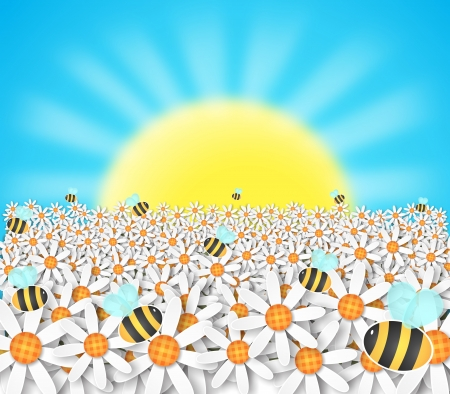 pollination: illustration of bright sun with blue sky,flying bees and spring flowers