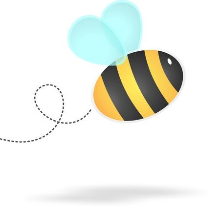 만화 아기 꿀벌의 그림은 아기 또는 유치 설계를위한 스크랩북 또는 귀여운 요소에 사용할 흰색 배경에 고립 스톡 콘텐츠