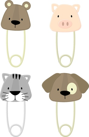 funny baby: cute baby animals safety pins isolated on white background, vector format very easy to edit, individual objects