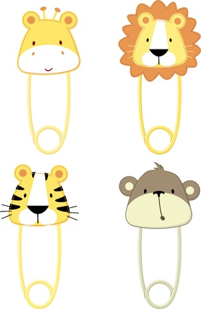 diaper pin: cute baby safari animals safety pins isolated on white background, vector format very easy to edit, individual objects