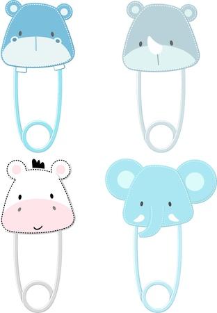 흰색 배경에 고립 된 귀여운 아기 사파리 동물 안전 핀, 벡터 형식으로 아주 쉽게, 개별 개체에게 편집
