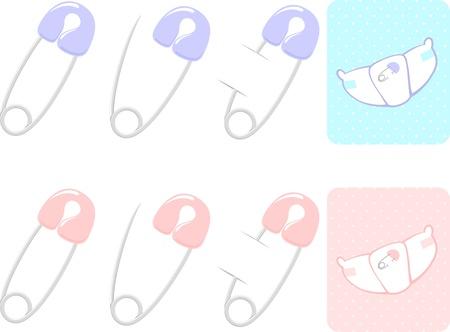set van veiligheidsspelden en luier illustratie, roze en blauwe fo baby meisje en jongen
