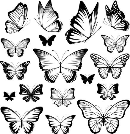편집하는 것은 매우 쉬운 벡터 형식으로 개별 개체에 흰색 배경에 고립 된 나비 실루엣의 집합