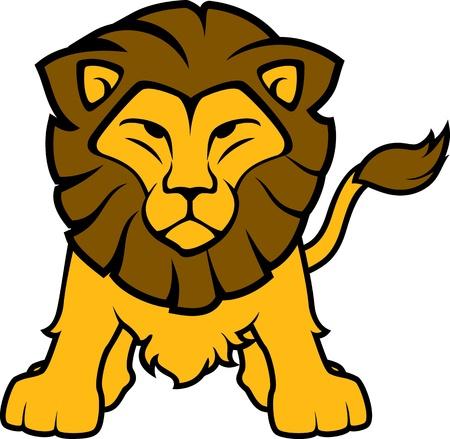 leones: ilustraci�n de la vista frontal del le�n aislado en el fondo blanco, en formato vectorial muy f�cil de editar, objetos individuales