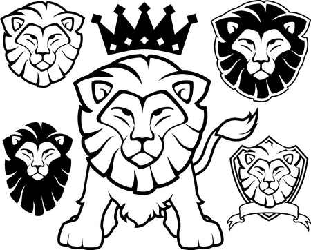 lion head designs isolated on white background, in vector format very easy to edit, individual objects Vectores