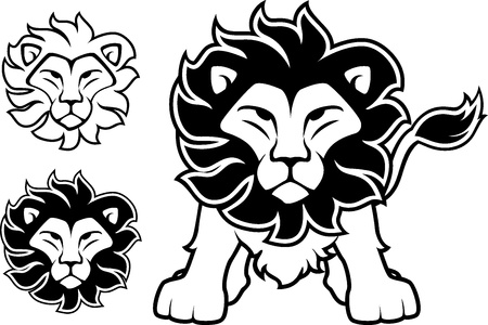 head of lion: lion front view and head designs isolated on white background, in vector format very easy to edit, individual objects Illustration