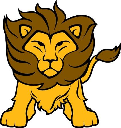 Illustration de lion vue de face isolée sur fond blanc, dans un format vectoriel très facile à modifier, des objets individuels Banque d'images - 19547182