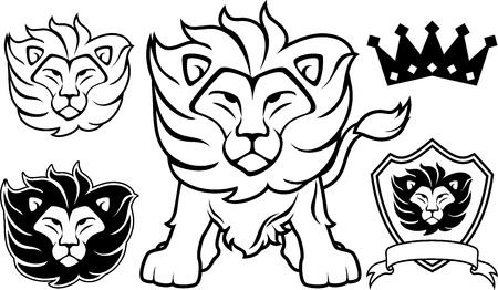 Disegni testa di leone isolato su sfondo bianco, in formato vettoriale molto facile da modificare, singoli oggetti Archivio Fotografico - 19547932