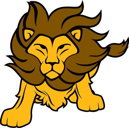 Illustration de lion vue de face isolée sur fond blanc, dans un format vectoriel très facile à modifier, des objets individuels Banque d'images - 19547181