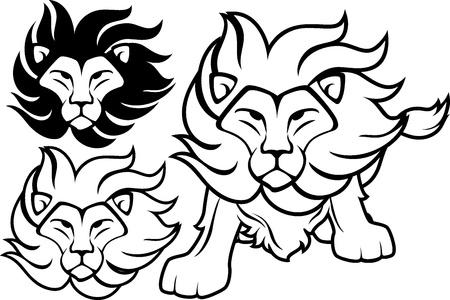 Vue de face lion et conceptions de tête isolé sur fond blanc, dans un format vectoriel très facile à modifier, des objets individuels Banque d'images - 19547933
