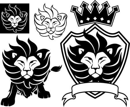 lion head designs isolated on white background, in vector format very easy to edit, individual objects Çizim