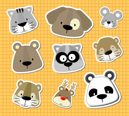 set of cute baby animals heads looks like stickers, in vector format very easy to edit, individual objects Vector