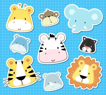 conjunto de lindo bebé animales del safari cabezas, en formato vectorial muy fácil de editar, objetos individuales Ilustración de vector
