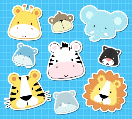 set van schattige baby safari dieren hoofden, in vector-formaat zeer gemakkelijk te bewerken, individuele objecten Stock Illustratie