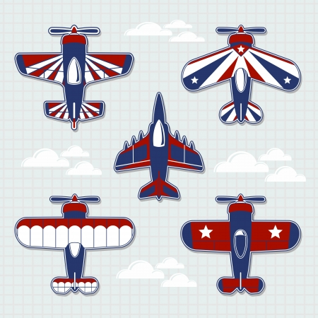 cartoon: set of funny airplanes cartoon for childish decoration in vector format very easy to edit, individual objects