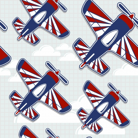 funny airplanes cartoon pattern for childish decoration in vector format very easy to edit, individual objects Çizim