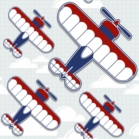 funny biplane cartoon pattern for childish decoration in vector format very easy to edit, individual objects Vector