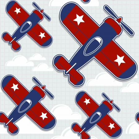funny airplanes cartoon pattern for childish decoration in vector format very easy to edit, individual objects Illustration