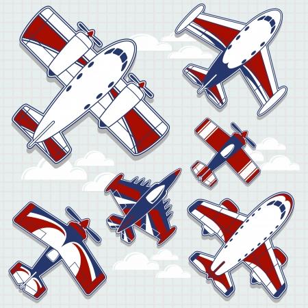 avi�n juguete: juego de aviones divertidos dibujos animados para la decoraci?n infantil en formato vectorial muy f?cil de editar, objetos individuales