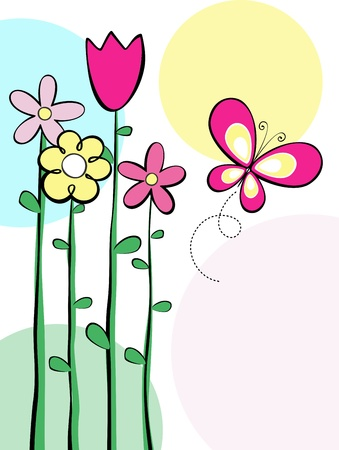 illustration of tall spring flowers and butterfly, in format very easy to edit, individual objects