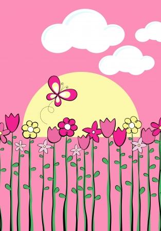 Illustration de fleurs de printemps de haut et papillon, au format très facile à modifier Banque d'images - 20214812