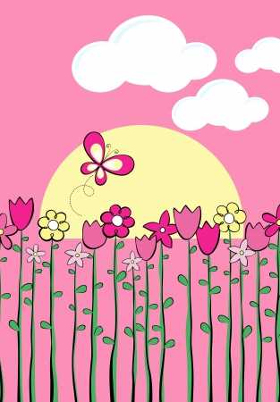 spring: illustration of tall spring flowers and butterfly, in format very easy to edit Illustration