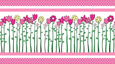 side border: illustration of tall spring flowers border, in format very easy to edit, place this design side-by-side to create an endless pattern