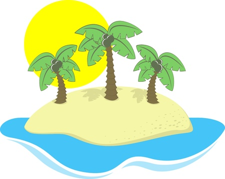 cartoon illustration of tropical island isolated on white, in format very easy to edit