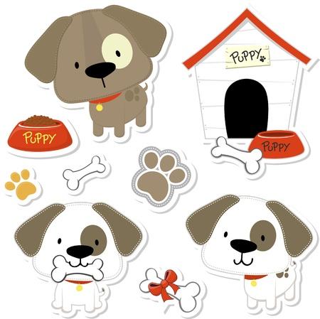 huellas de animales: Conjunto de perros divertidos del beb� y elementos perrito como pegatinas, �til para muchas aplicaciones, sus dise�os o proyectos scrapbooking Vectores