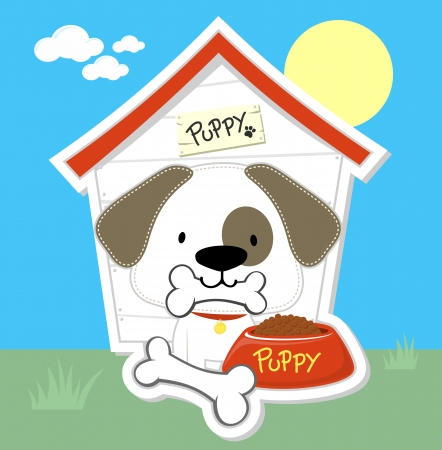 cute puppy eating and dog house, individual objects  in format very easy to edit  Vector