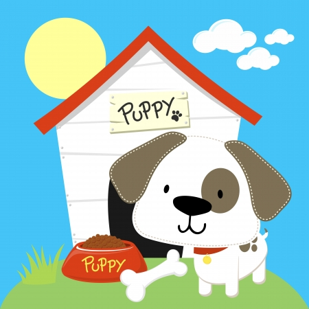 cute dog: cute puppy and dog house, individual objects  in format very easy to edit