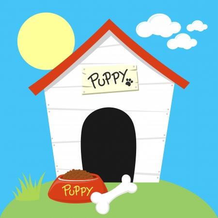 schattige hond huis met hondevoerkom en been Stock Illustratie