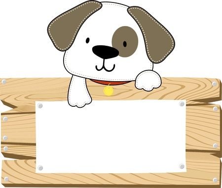 illustration of cute doggy with wooden blank board