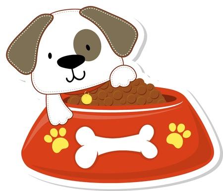 巨大な赤いボウル、多くのアプリケーションにとって有用と愛らしい犬の漫画イラスト  イラスト・ベクター素材
