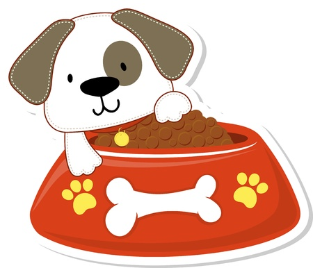 cartoon illustration of adorable doggy with giant red bowl, useful for many applications